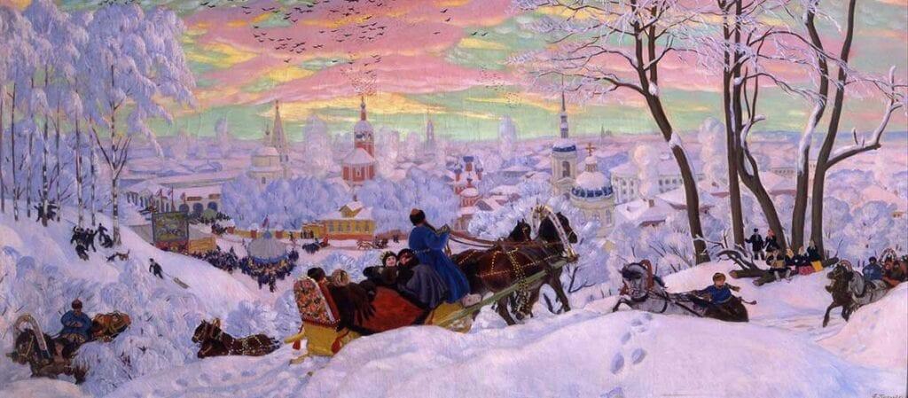 målning med vinterlandskap